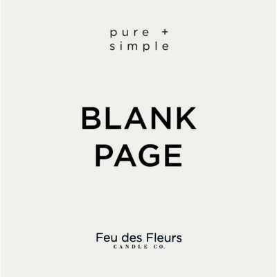 light grey label for the blank page pure and simple candle by feu des fleurs