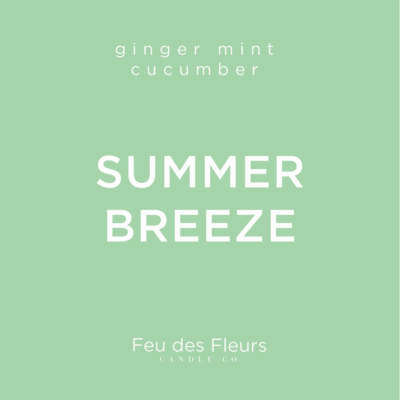 mint green label for the ginger mint cucumber scented candle summer breeze by feu des fleurs
