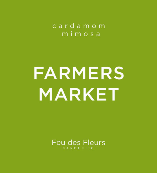 moss green label for the cardamom mismosa scented candle farmers market by feu des fleurs