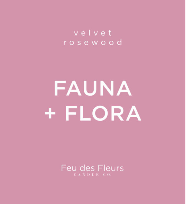 pink label for the velvet rosewood scented fauna and flora by feu des fleurs