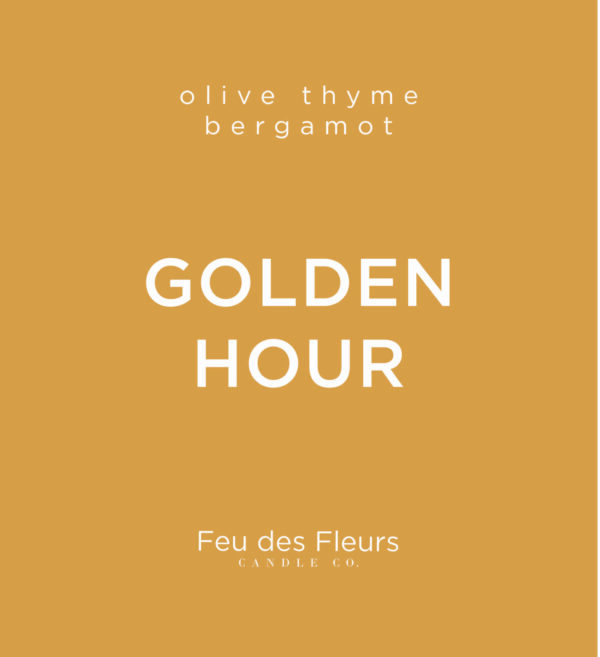 orange label for the olive thyme bergamot scented golden hour by feu des fleurs
