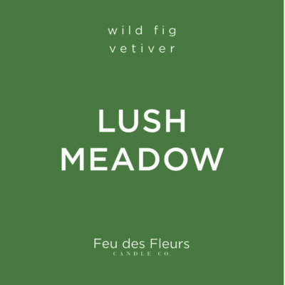 dark green label for the wild fig vetiver scented candle lush meadow by feu des fleurs