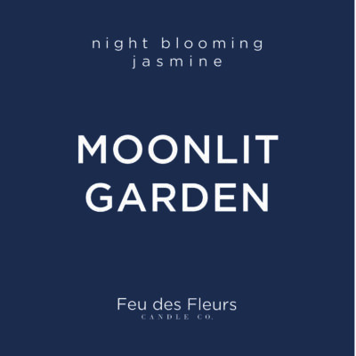 dark blue label for the jasmine scented candle moonlit garden by feu des fleurs