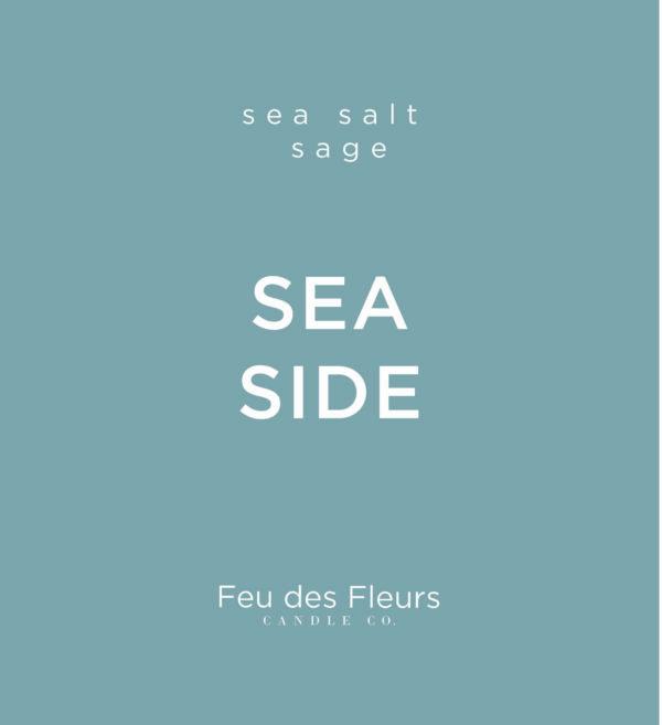 light blue label for the sea salt sage scented candle sea side by feu des fleurs