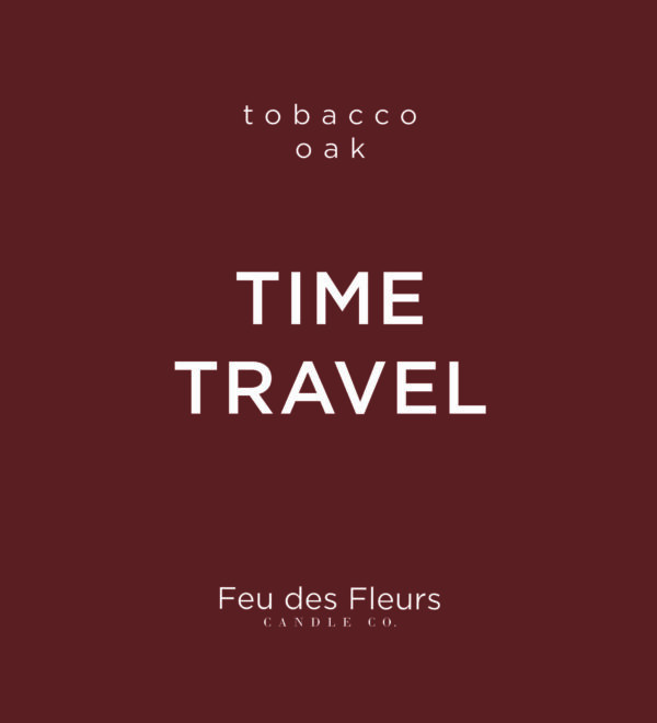 dark brown label for the tobacco oak scented candle time travel by feu des fleurs